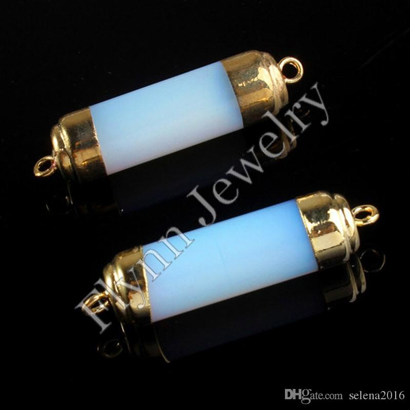 Gold Plated Double Hook Natural Stone Cylinder Druzy Connector DIY Jewelry Making Amethyst Opal Rock Crystal Tigerite