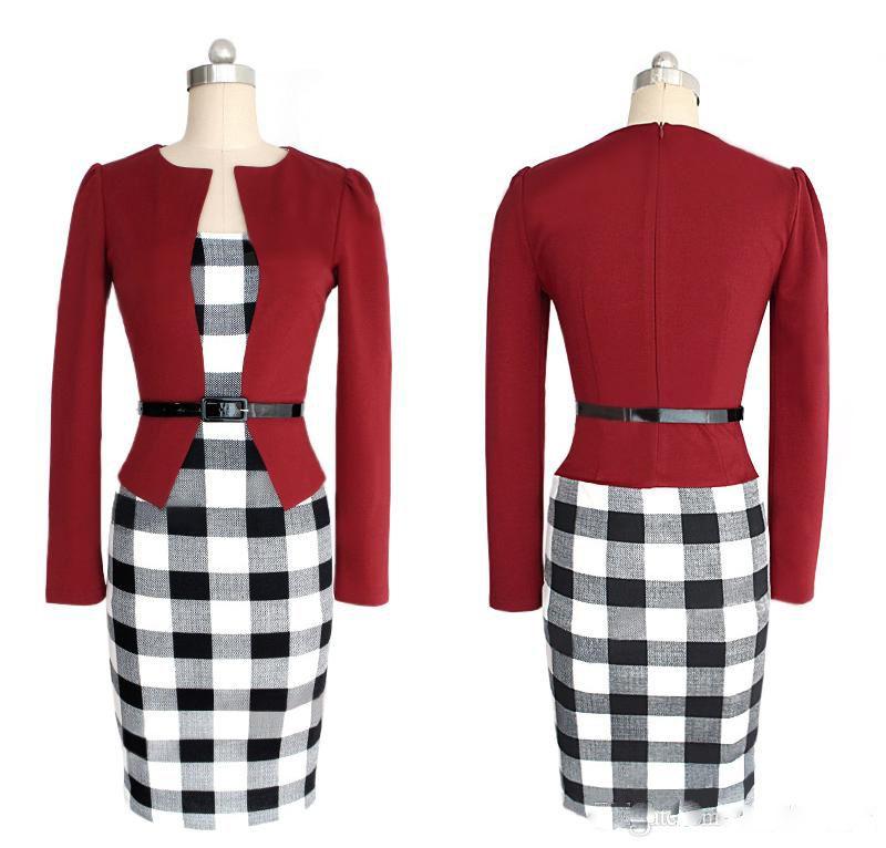 Vente en gros Chaude carrière Dames Formelle Robes de travail 2020 Genou-Longueur Maxi Summer Party Soirée Femmes Moulante Vêtements Avec Ceinture