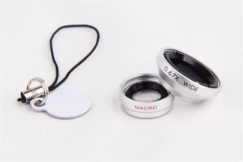 Hot sale Detachable Magnetic 4 in 1 0.67x Wide Lens + Macro Lens + 180 degrees Fish Eye Lens + 2x telephoto Lens For iPhone 6 6plus 5S