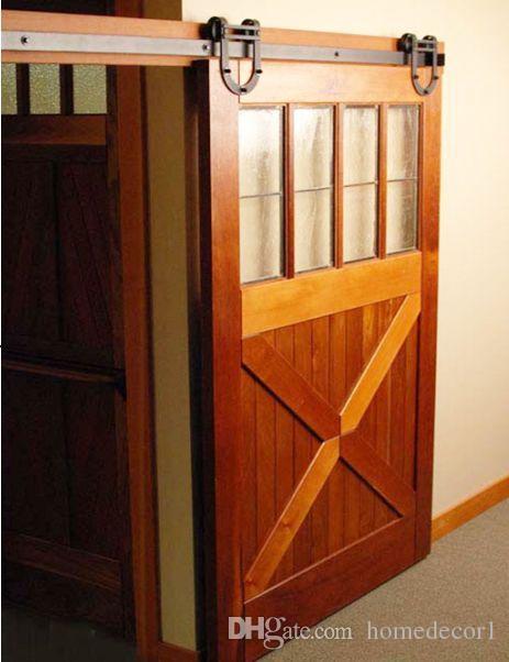 Раздвижные двери сарая Сверхмощный современный дизайн в форме подковы, рустикальные стальные деревянные раздвижные двери сарая