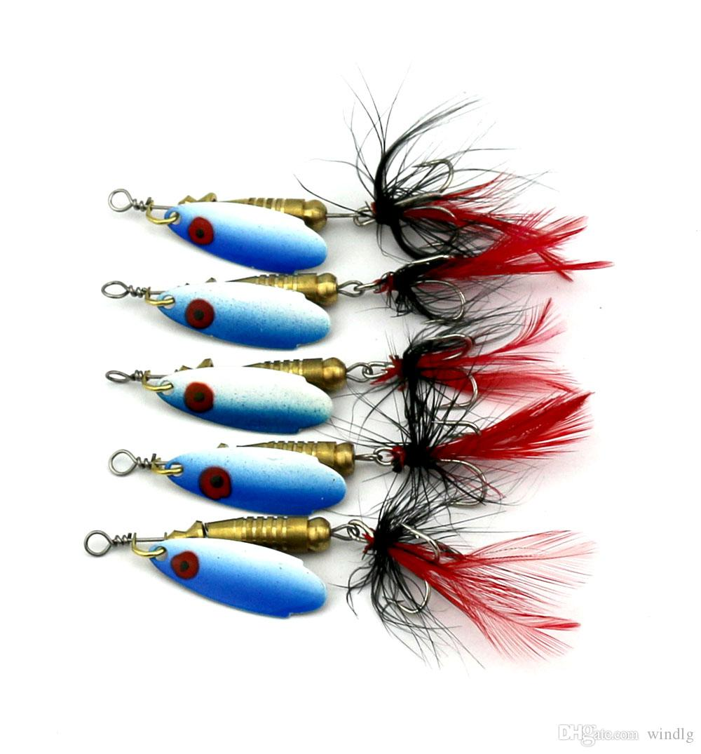 Hengjia Fishing Trips 6G 6#hooks Spoon Lure Hard Bait Spinner Lures With Feather Hook Spoon Baits For Freshwater