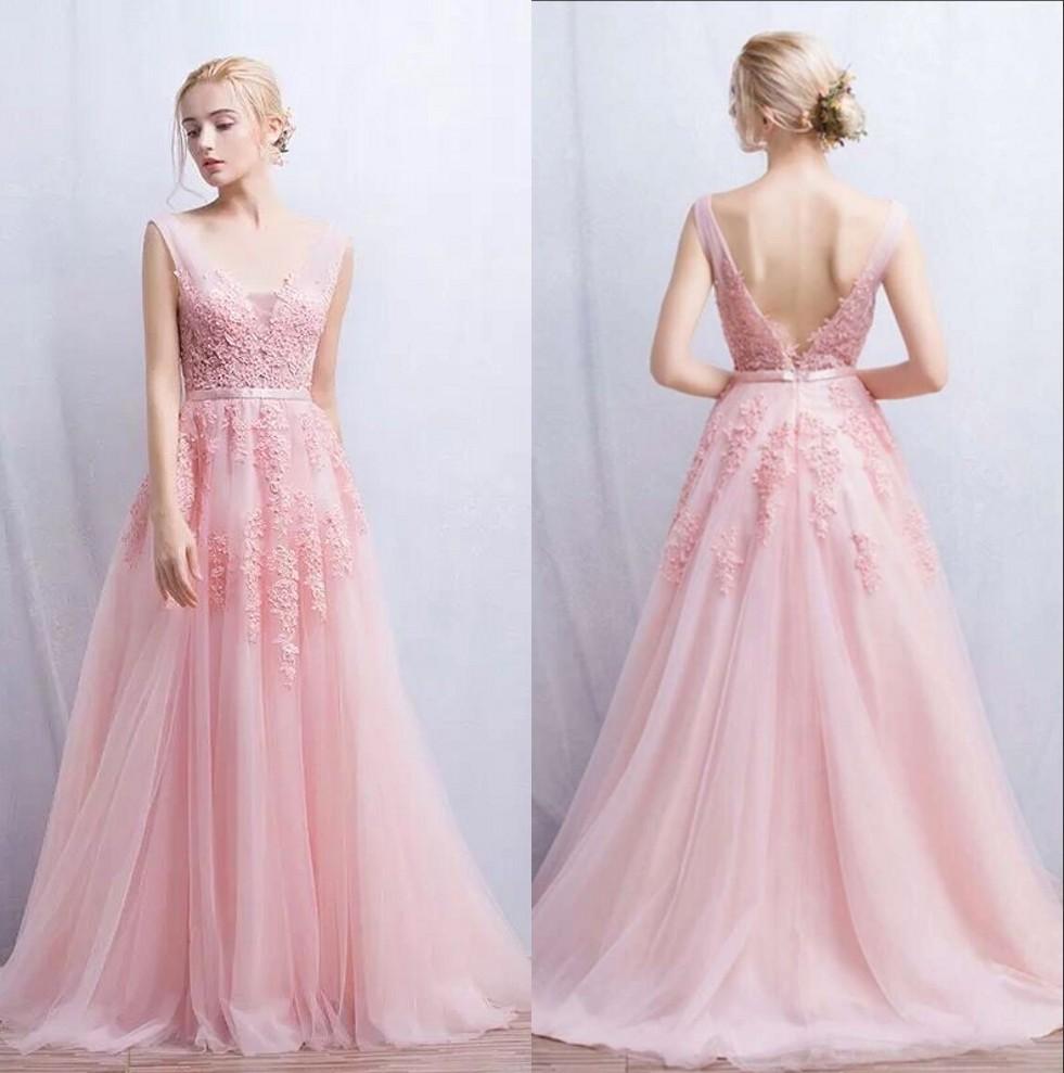 Compre Encantadores Lindos Baby Pink Lace Organza Vestidos De Dama ...
