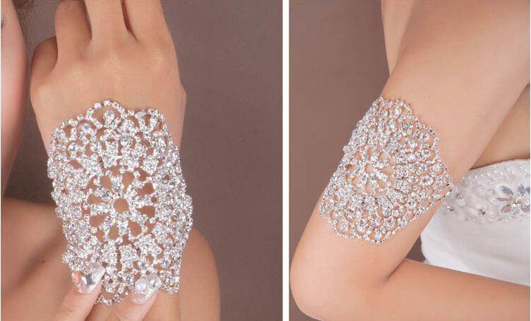 Cheap Elegant Wedding Bridal Gloves Crystal Rhinestone Armlet Chain Ring Bracelet Bangle Gorgeous Party Wristband Armbands