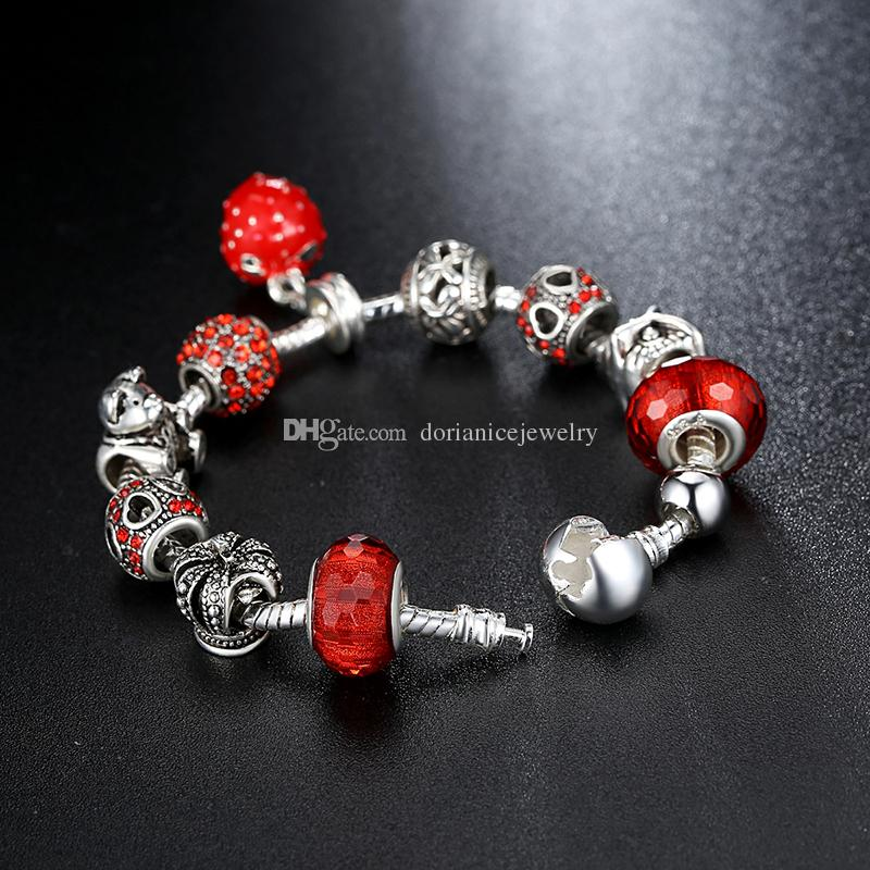 Fashion Charm Bangle Bracelets with Red Murano Glass Beads & Brilliant Cubic Zirconia & Lucky Bear Silver Charms & Strawberry Dangles BL090