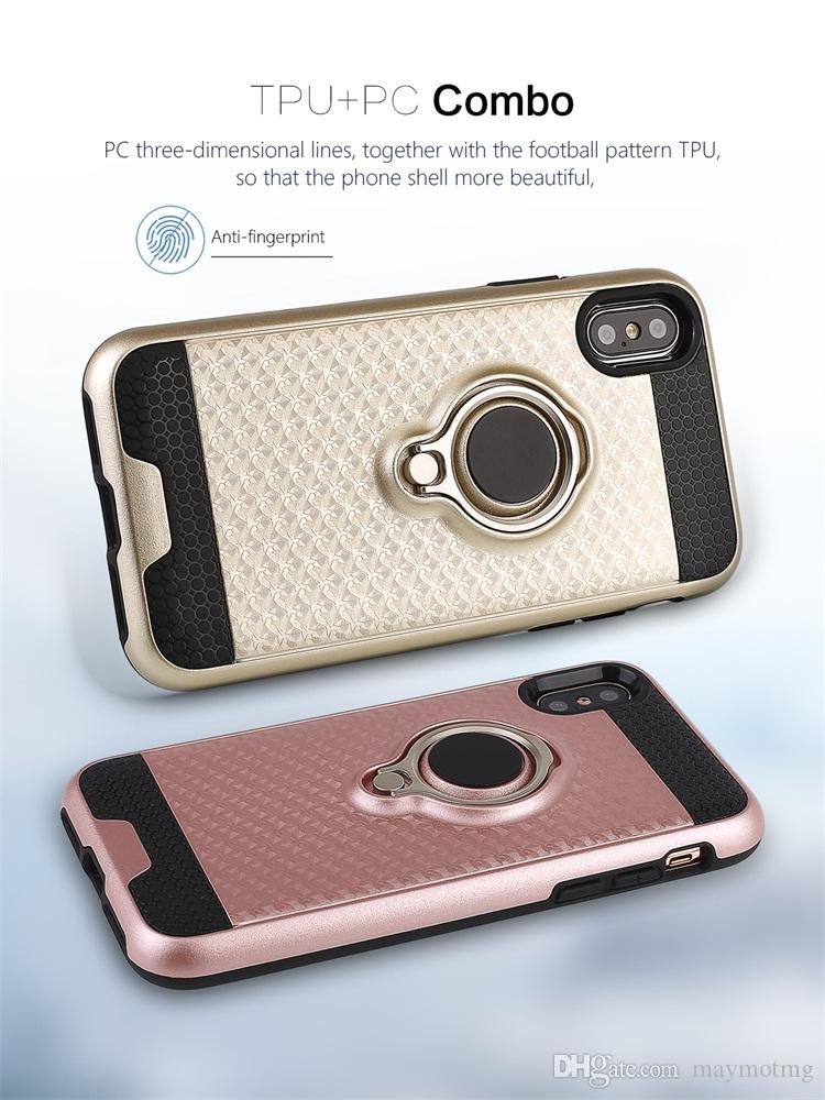 High quality back cover for iphone X case texture dual layer armor shell 3D finger ring holder grip magnetic metal plate bumper