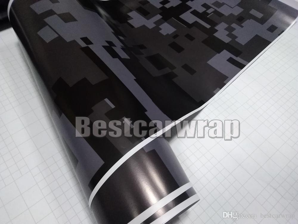 Negro gris oscuro noche urbana Digital Tiger Camo Vinilo Abrigo del coche Con burbuja de aire Pixel Camuflaje Gratis gráficos etiqueta engomada del coche 1.52x30m / 5x98ft