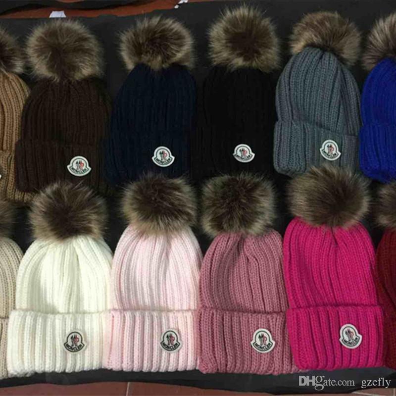 Wholesale Embroidery Real Raccoon Fur Pompom Women Men Winter Hat Fur Pom  Pom Winter Beanies Warm Knitted Bobble Hat For Boy Girl Hats Bucket Hats  From ...
