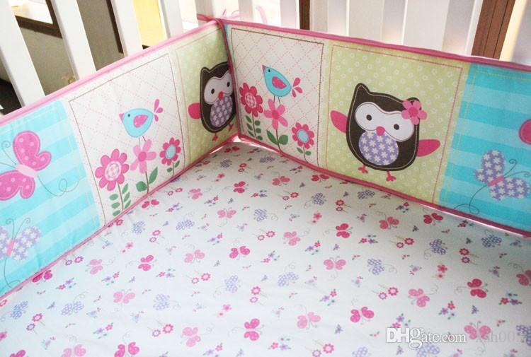 Sale Baby bedding set Embroidery owl butterfly flowers Crib bedding set Baby Quilt Bed around Mattress Cover Bed skirt Cot bedding set