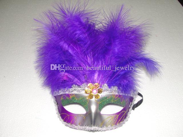 18 * 25cm 긴 깃털 마스크 11 뿌리 깃털과 레이스 트리밍 여성 파티 마스크 패션 파티 가면 마스크 /