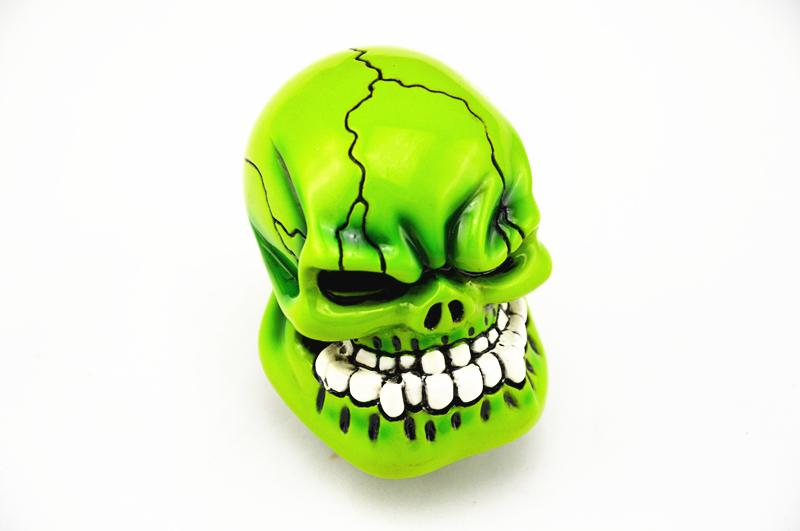 Free shipping Custom Bone Skull Style Stick Shift Gear Lever Shifter Knob Car Universal Green