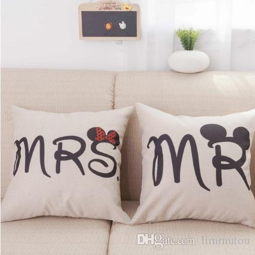 Pillow Cushion Covers Style Letters Mr And Mrs Cute Bed Pillows Extraordinary Cute Decorative Bed Pillows