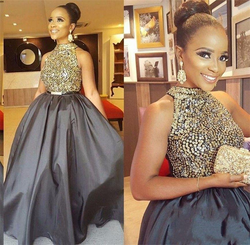 Yeni Gri Uzun Gelinlik Modelleri Yüksek Boyun Payetli Boncuklu Bir Çizgi Tafta Afrika Siyah Kız Akşam Parti Örgün Elbise Damat Annesinin Giyim 220