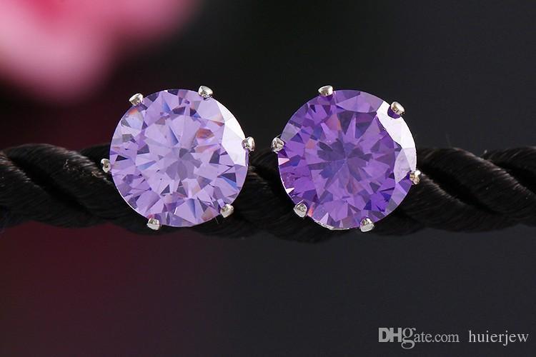 Earings for Woman Wedding Jewelry Rhinestone Gemstone Crystal Stud Earrings Korean Fashion Jewelry 925 Silver Plated Zircon CZ Stud Earrings