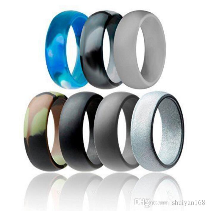 Anel de casamento de Silicone Flexível O-ring de Casamento Confortável Fit Lightweigh Anel para Homens Multicolor Design Confortável para Homens