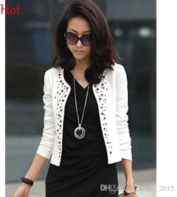 Womens Blazer 2015 New Fashion Hot Sale Jackets Women Short Coat Female O  Neck Rhinestone Rivets Causal Ladies Tops Blazers Shrug Suits 7164 UK 2019  From ... a2b01972f0a7