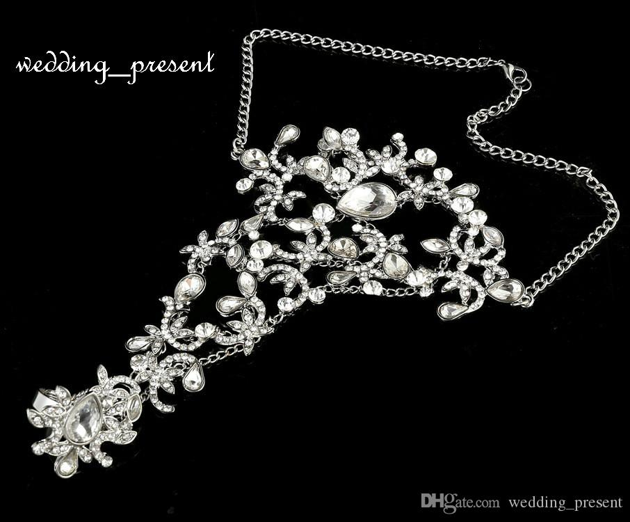 Nova vinda de moda nupcial pulseira jóias de casamento strass cristal anel de dedo pulseira pulseira partido prom jóias