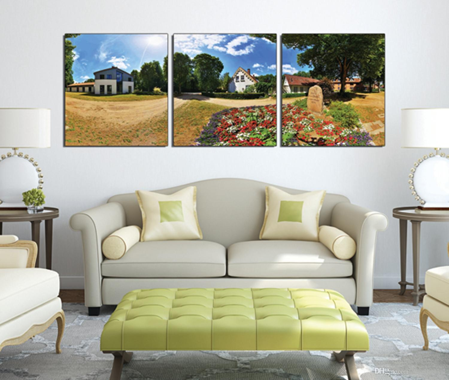 Wall Painting Art Picture Paint on Canvas Prints Panoramic photos Small town scenery Wooden pier tree house fence