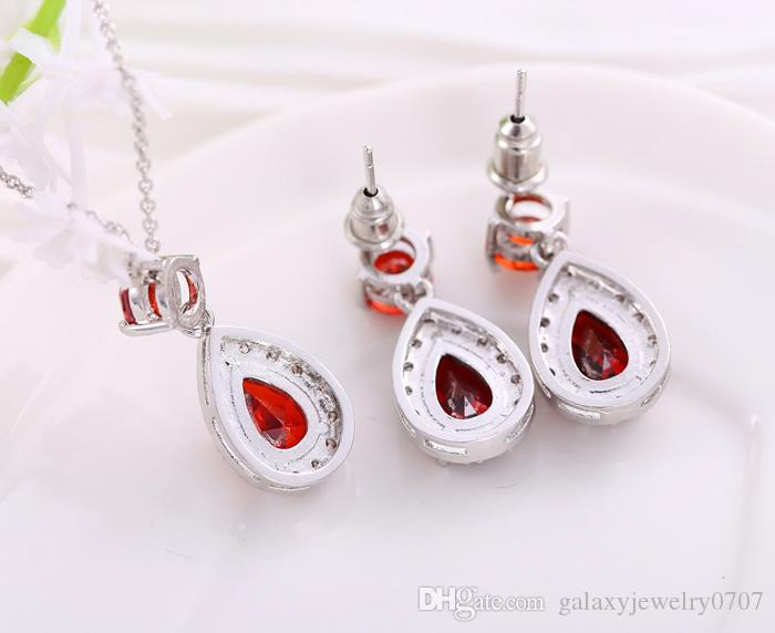 2015 New Trendy Wedding Accessories 18K White Gold Plated Top Quality Water Drop Red Swiss CZ Necklace & Earrings Jewelry Sets Women ZSS12