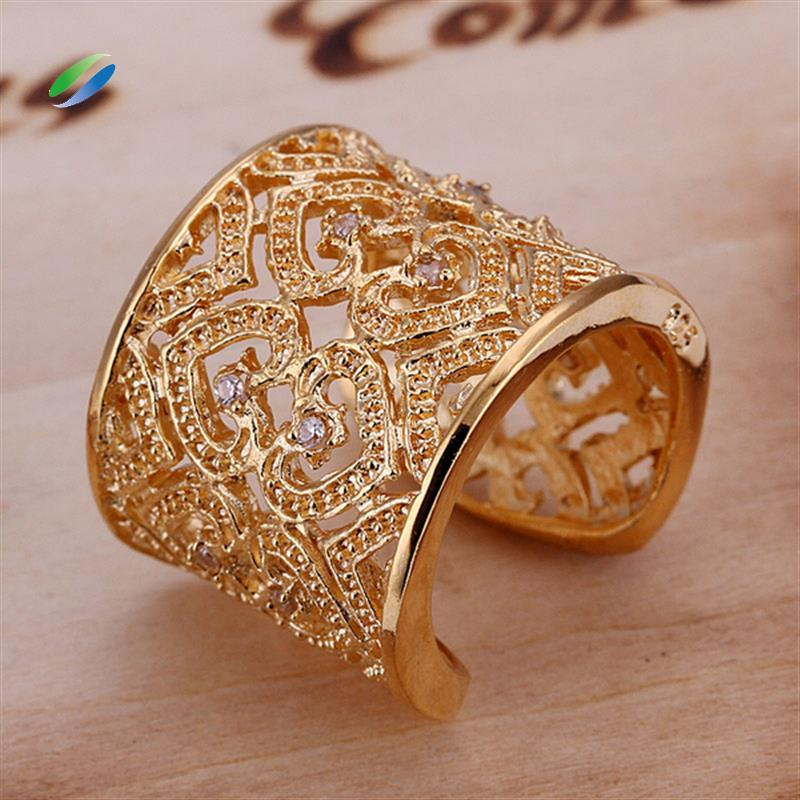 2018 R107 Insets Golden Hollow Bangles Ring Opening Fashion Gold