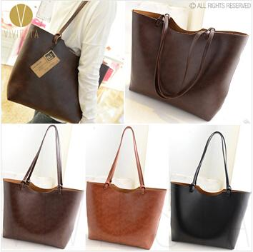 Vintage 2 Way Large Shopper Tote Bag Women'S Faux Leather Retro ...
