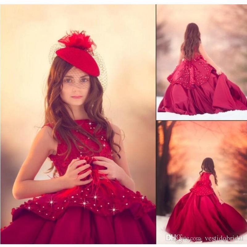 Vraie Image Rouge Robes De Fille De Fleur 2018 Bijou Dentelle Applique Perles Satin Ball Gown Enfants Formelle Robe De Fête De Mariage Première Communion Dress
