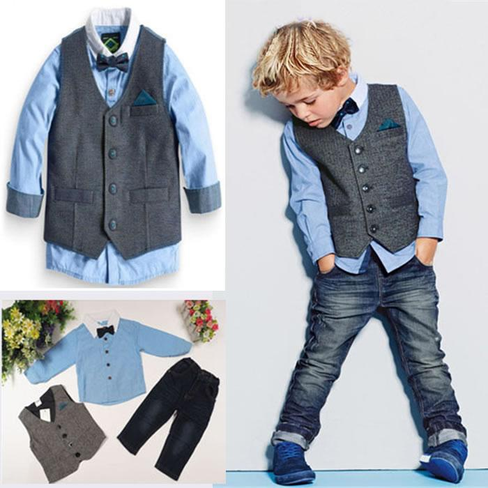 749b4f3f8270 Autumn Winter Kids Boys Denim Sets Clothes Gentleman Children ...