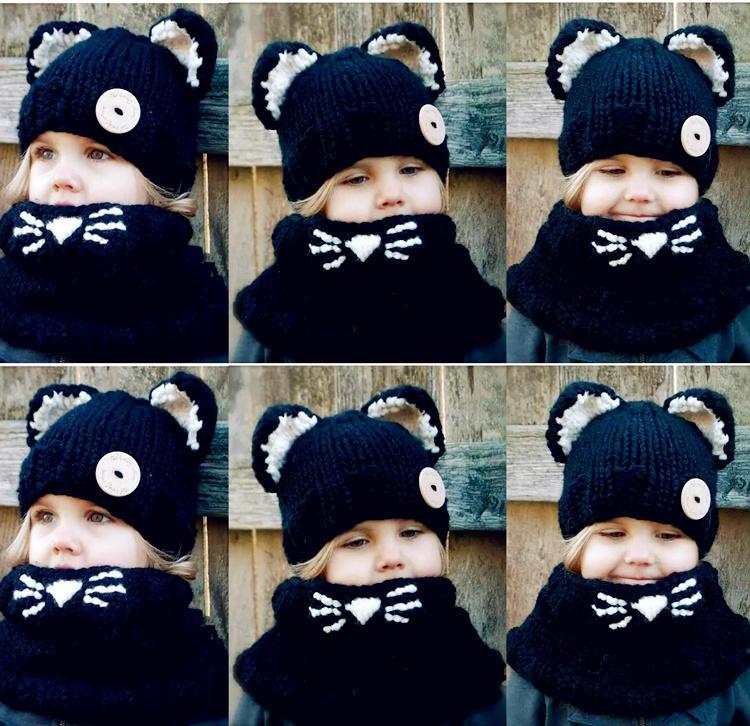 Compre Atacado Gorros Chapéus Bonés Meninas Tricô Snapback Chapéus Lenços  Terno Inverno Chapéus Cachecóis Conjuntos De Moda Bebê Preto Duas Peças De  Gato ... a0908966478
