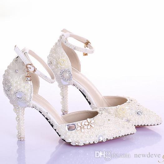 Crystal Beaded Bridal Shoes Pearl Pure Color Pointed Toe Heels Walking Comfortable High Heel Prom Shoe Cheap