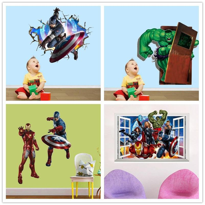 50cm*70cm The Avengers 3d Wall Decals Stickers Avengers Wall Stickers Kids  Room Decor Cartoon Decals Removable Iron Man Wall Paper Windows Kids Room  ... Part 88