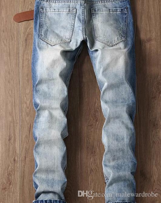 Los hombres jeans de moda esqueleto tatuaje Águila personalidad masculina Patch pantalones vaqueros rectos del bordado de Rose Tide pantalones del lápiz de flores bordado