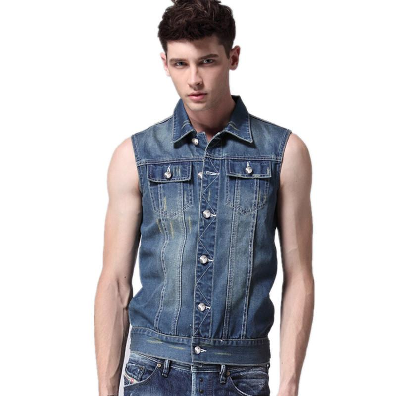 New Hot Men Short Denim Vest Men Jeans Vest Men Sleeveless Denim ...