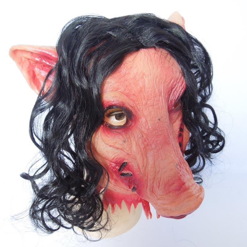 Horror Halloween Mask Saw 3 Pig Mask with black hair Adults Full Face Animal Latex Masks Horror Masquerade costume With Hair