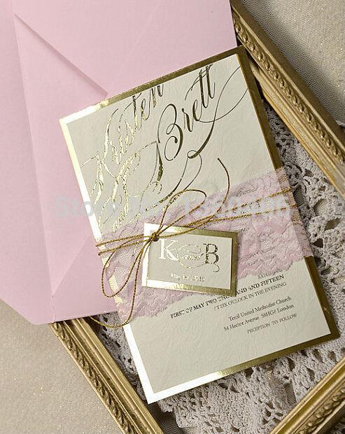 elegant lace wedding invitation card with golden glitter belly band with printing online greeting cards online greeting cards free from yourdiycards - Wedding Invitation Belly Band