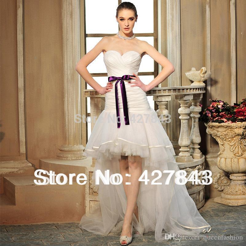 Discount 2016 Unique Casual High Low Wedding Dresses White/Ivory ...