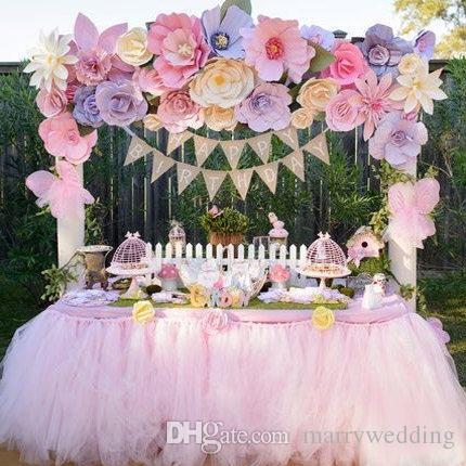 Grosshandel 2015 Rosa Hot Pink Tull Tisch Rock Tutu Tischdekoration