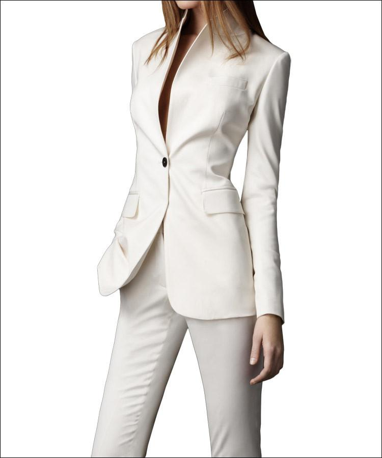 Discount 2015 Ivory Women Pant Suits Stand Collar Long Sleeve ...