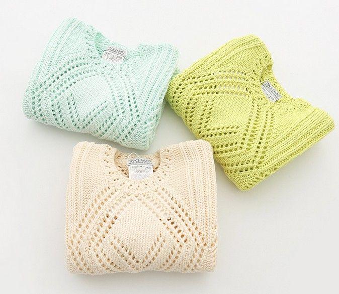 Cotton Knit Solid Long Sleeve Hollow Asymmetric Lower Hem Kid Girls Sweater Fashion Soft Grace N1686