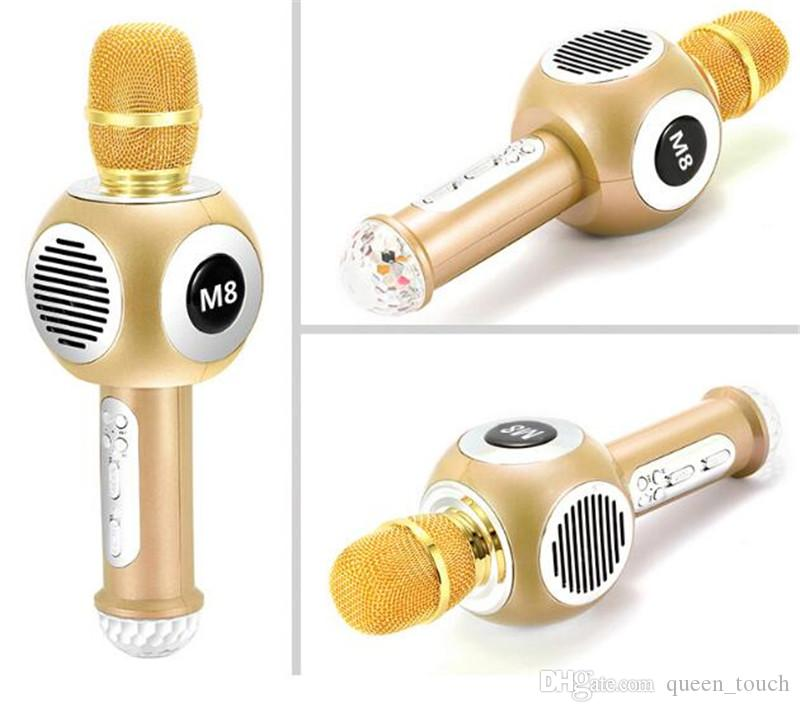2018 M8 USB Microphone KTV Karaoke Handheld Mic Speaker Wireless Microphone M8 for IOS Android Smartphone and TV High quality