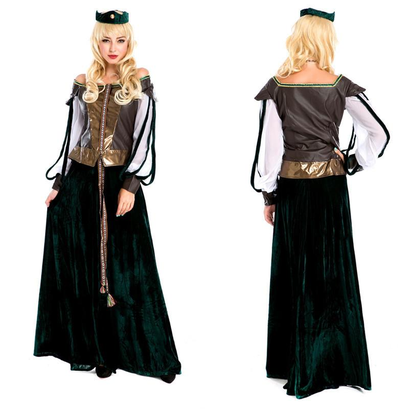 Women Renaissance Medieval Gothic Long Dress Halloween Costumes ...