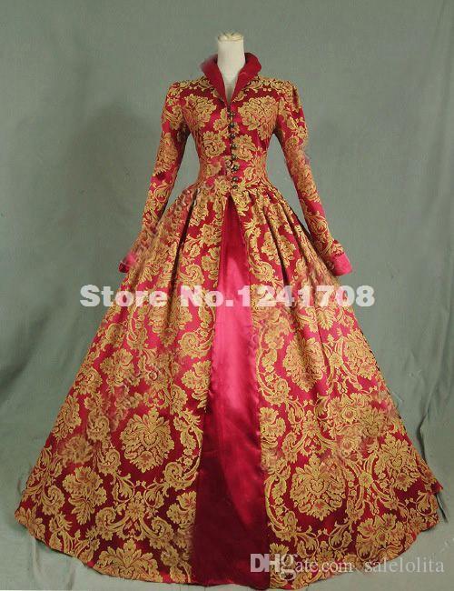 318b8ee30a Customized Victorian Tudor Jacquard Brocade Period Dress Ball Gown  Reenactment Theatre Clothing Print Victorian Dress Custom Girls Costumes  Spiderman ...