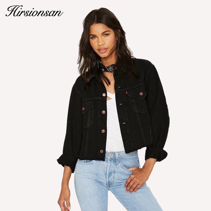 663cb8e375b0 Wholesale- Autumn Vintage Women's Denim Jacket Casual Black Ripped Women  Short Jean Jackets Spring Punk Streetwear Women Denim Basic Coats