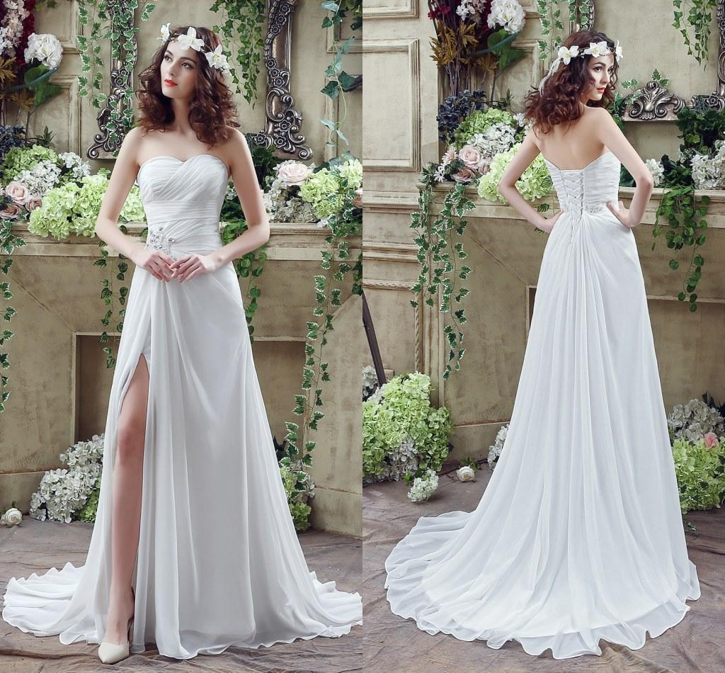 Discount sexy thigh high slits wedding dresses 2016 cheap backless discount sexy thigh high slits wedding dresses 2016 cheap backless wedding gowns maternity vestido de novia strapless beads cps238 anthropologie wedding junglespirit Choice Image