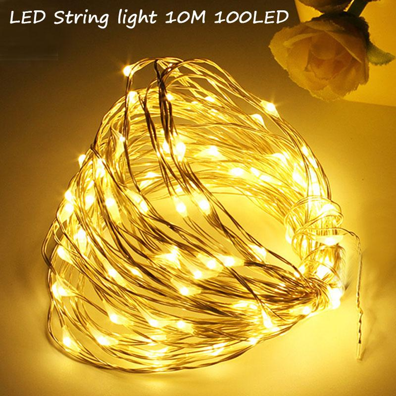 led string lights 10m 33ft 100led battery outdoor warm whitergb copper wire christmas festival wedding party decoration houses with christmas decorations - Cordless Outdoor Christmas Decorations