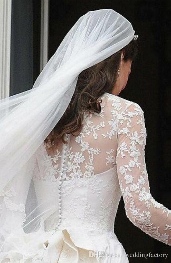 Bedövning Kate Middleton Bröllopsklänningar Royal Modest Bridal Gowns Long Långärmade Ruffles Katedral Tåg Skräddarsydda Högkvalitativa Brider