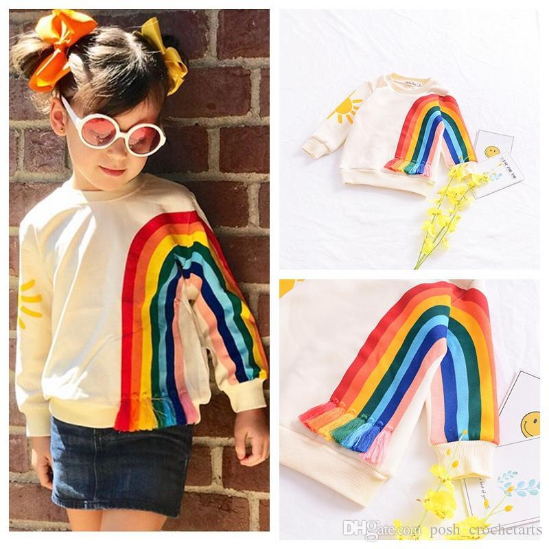 163c502a5 2019 Rainbow Pullovers Sweatshirts For Children Unicorn Color Fleece Winter  Sweatshirt Tassels Rainbows Cute Girls Clothes Kids Winter Clothing From ...