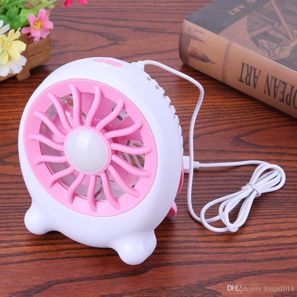Creative Portable Silent USB Mini Cooling Fan Desk Lamp USB Light 3 Wind Speed Summer Air Cooler Fan with Rechargeable Battery