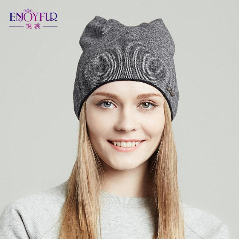 8336ff0ec94 Wholesale ENJOYFUR Spring Hat For Women Knitted Wool Beanies Hat Cat Ear  Stylish Cap 2017 New Fashion Lovely Cap Crochet Hat Baseball Hats From  Naixing