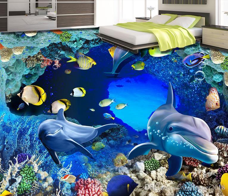Pvc piso de vinil banheiro Dolphin mundo subaquático 3D estéreo banheiro sala de estar piso de ladrilho pintura