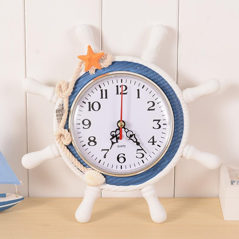 Großhandel Mittelmeer Stil Holz Runde Wanduhr Retro 215 * 25mm Große Wanduhr  Anker Saat Nadel Dekoration Hanging Reloj Uhr Von Bf_sunshinelife, ...