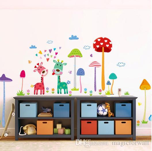 Forest Mushroom Deer Animals Home Wall Art Mural Decor Kids Babies Room Nursery Wallpaper Decoration Decal Lovely Animals Family Art Decor